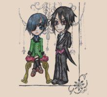Chibi Ciel and Sebastian by CeruleanCocoon
