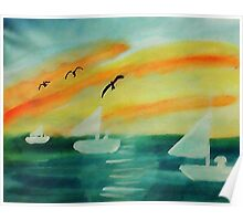 Soothing sunset, watercolor Poster