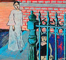 Woman and child with fence by PlattEileen