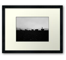 Boats at Sunrise - Cley, Norfolk (Black and White) Framed Print