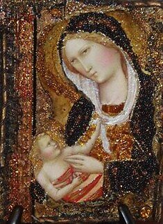 Madonna & Child  - Homage to Agnolo Gaddi. 1. by Ian A. Hawkins