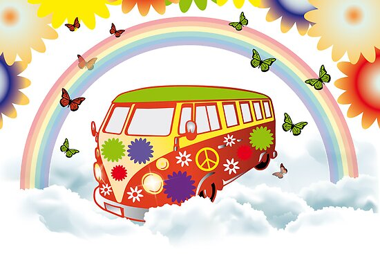 Flower power - Retro van illustration by schtroumpf2510