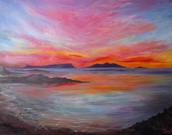 Sunset over Eigg & Rum from Morar by artyfifi
