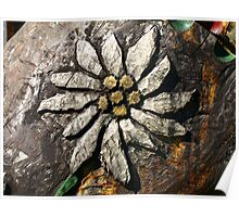 Edelweiss Wood Carving. Poster