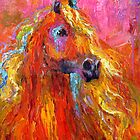 Red Impressionistic Arabian Horse painting by Svetlana  Novikova