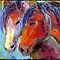 Two Mustang Horses Impressionistic Painting by Svetlana  Novikova