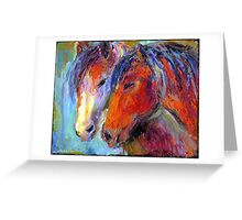 Two Mustang Horses Impressionistic Painting Greeting Card
