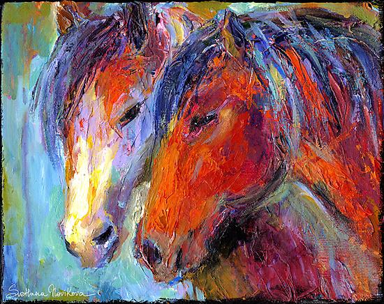 Two Mustang Horses Impressionistic Painting by Svetlana  Novikova