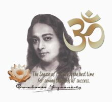 Paramahansa Yogananda w/Quote, Lotus Flower and Om/Aum by THarmonArt