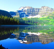 Cameron Lake Glass Mirror by DnAPhotography