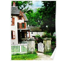 Victorian Home with Open Gate Poster