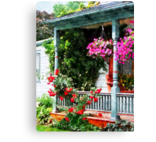 Hanging Baskets and Climbing Roses Canvas Print