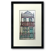 Victorian Terrace house, Melbourne, Australia. ©  Pen and wash on fabric. Framed Print