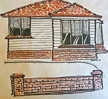 1950s weatherboard house, Melbourne, Australia. Pen and wash on fabric. by Elizabeth Moore Golding