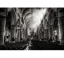 Inside Exeter cathedral in BW Photographic Print