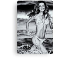 Tatyana running in the ocean. Canvas Print