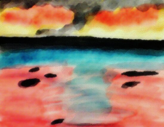Abstract seascape, watercolor by Anna  Lewis