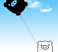 TWIN PIGS KITE by peter chebatte