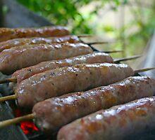 Sausages on Skewers by NicolaDiRodd