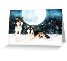 Winter Wolves fantasy art card - post card Greeting Card