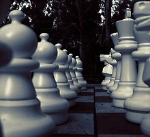 Your Move - White Chess Pieces by Sandra Chung