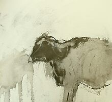 primitive cow by donnamalone