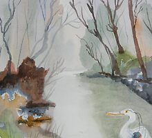 Heron and Morning Mist  by Warren  Thompson