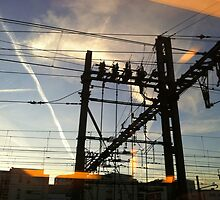 Pylon on the railway. by Jean-Luc Rollier