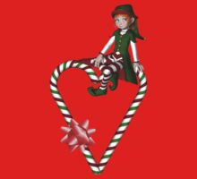 Girl Elf Candy Cane Heart Holiday Shirt by SmilinEyes