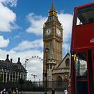 London: London eye, big ben and a red bus by GrahamCSmith