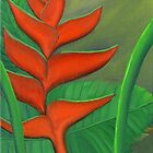 Tropical Beauty: Red and Green Heliconia by Maria  Williams