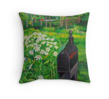 Mailbox and daisys landscape Throw Pillow