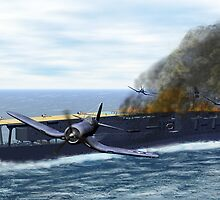 Fighting at the Battle of Midway by Walter Colvin