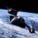 Black bird in orbit by Bob Martin