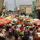Haiti Street Market and Umbrellas by Kent Nickell