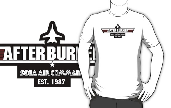 After Burner Top Gun White on Black Logo Mashup Homage by Christopher Bunye