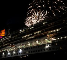 Fireworks over the Queen Mary 2 by AndrewBerry