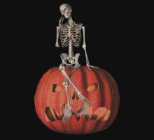Funny Skeleton Jack O Lantern Halloween Shirt by SmilinEyes