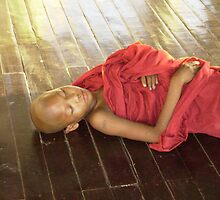 Faces of Burma: Sleeping Monk at Shewdagon Pagoda by Lynda Earley