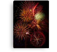 Multiple Fireworks Blasts Paint the Night Sky Canvas Print