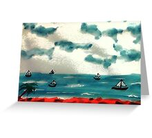 A day to go sailing, watercolor Greeting Card