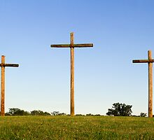 Three Wooden Crosses and Blue Sky Horizon by Kenneth Keifer
