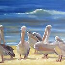 Grooming time - pelicans in the sun by Tash  Luedi Art
