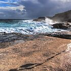 Sea Breaking near Talia Caves by Simon Bannatyne