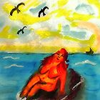 Where can a person sunbathe in privacy,,,watercolor by Anna  Lewis