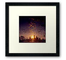 the sacred kingdom - sunrise at angkor wat Framed Print