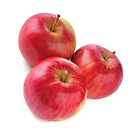 three ripe red apple on white background by Valerii Kotulskyi