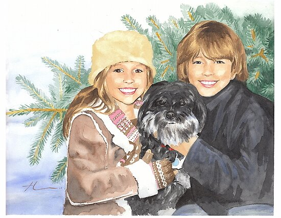 Kids, dog and a Christmas tree watercolor by Mike Theuer