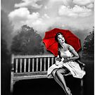 Rain on my red Umbrella by Kym Howard