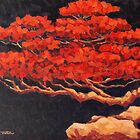 Red Bonsai - Bonsai Painting by Khairzul MG